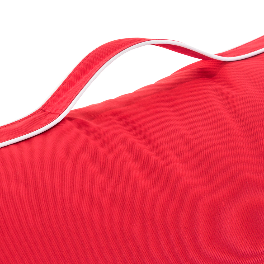 Close up of the red coastal lounge bean bag handle
