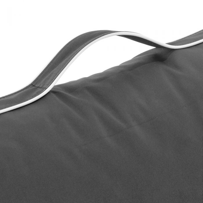 Close up of the handle on the stone grey coastal lounge bean bag