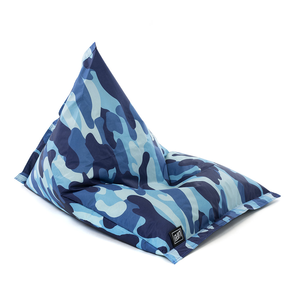 Blue camouflage print sunny boys shaped kids bean bag