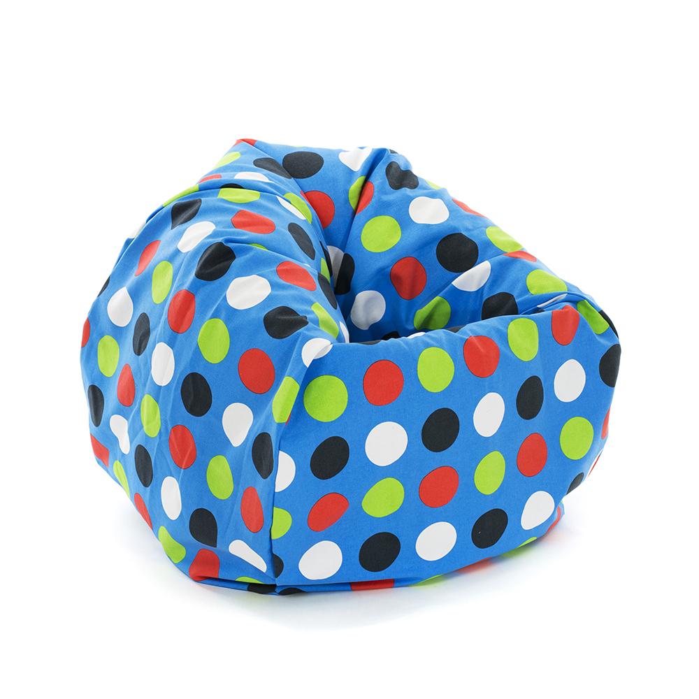Large blue spots polka dot tear drop shaped kids bean bag