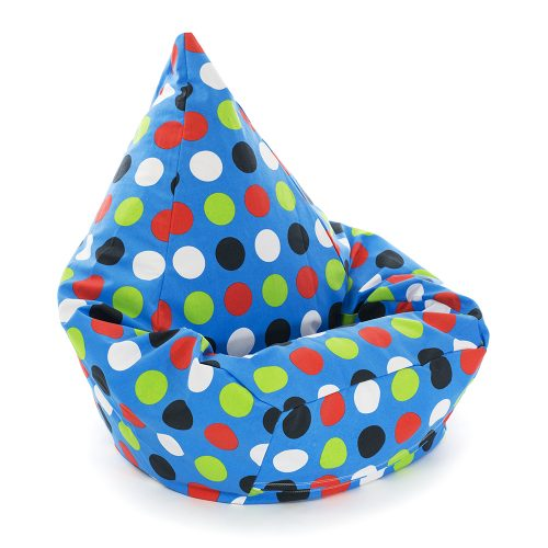 Large blue spots polka dot tear drop shaped kids bean bag