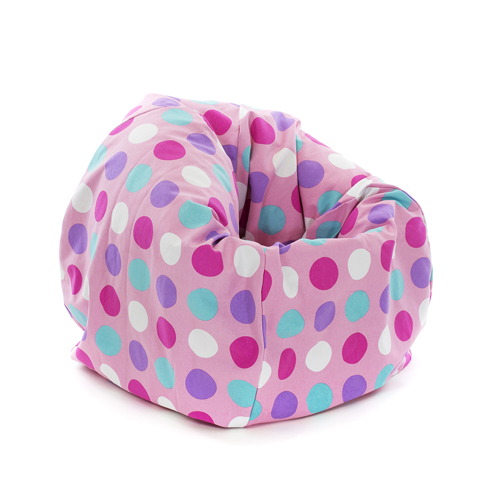 Large pink spots polka dot tear drop shaped kids bean bag