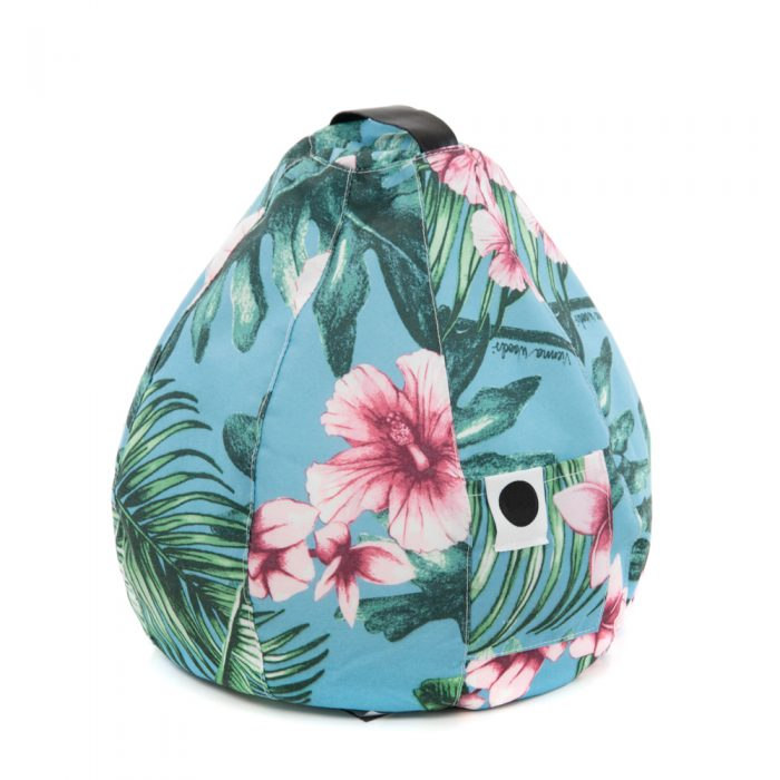 The storage pocket of the tropical print belvedere bean caddy icrib book rest ipad cushion