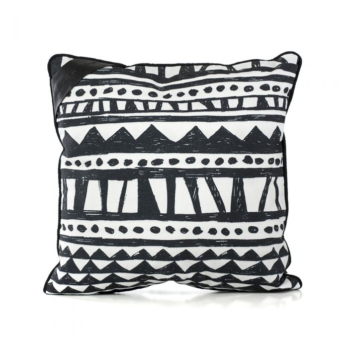 Bermuda print indoor outdoor cushion. A graphic geometric hand drawn designer print in black and white.