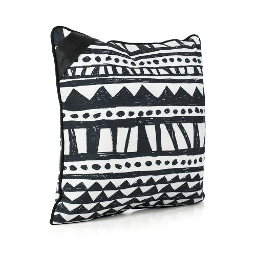 Oblique view of the bermuda hand drawn designer print cushion. Its a bold black and white geometric print design.