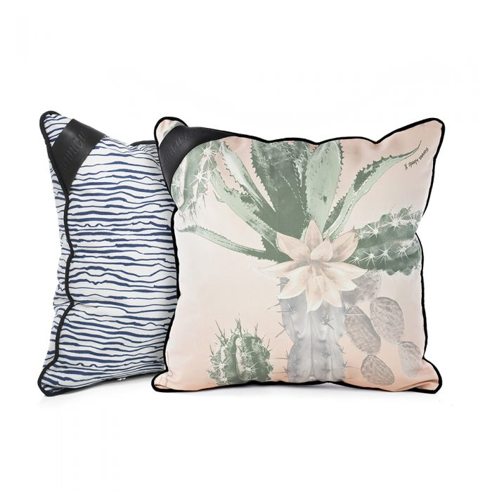 Indoor outdoor cushions shown in blue wave marine print and pink and green kakteen cactus prints