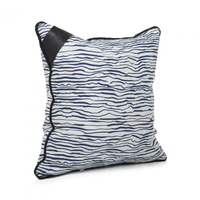 Oblique angle of the hand drawn designer marine print indoor outdoor cushion