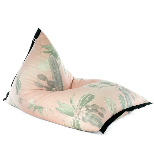 Lifestyle tetrahedral shaped bean bag in pink and green cactus print Kakteen material with black contrast trim