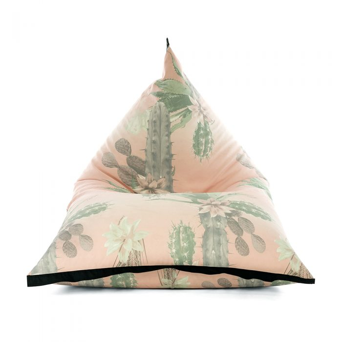 Front view of lifestyle tetrahedral shaped bean bag in pink and green cactus print Kakteen material with black contrast trim