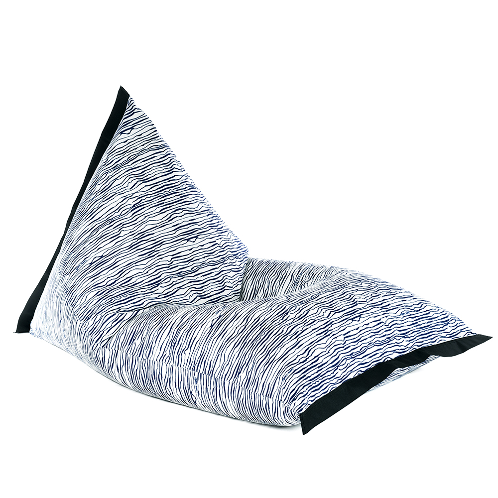 Lifestyle tetrahedral shaped bean bag in blue wave marine material with black contrast trim