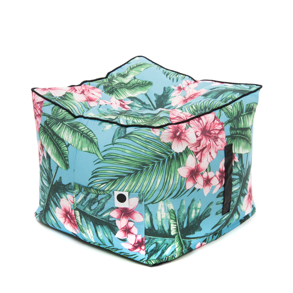 The tropical print belvedere bean filled ottoman showing the storage pocket and carry handle.