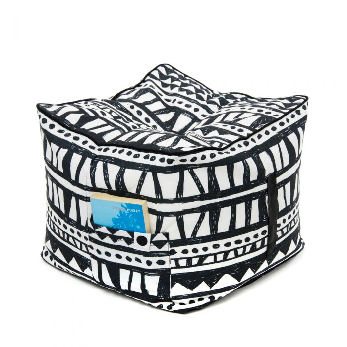 Bold geometric print black and white bermuda ottoman showing storage pocket and carry handle.