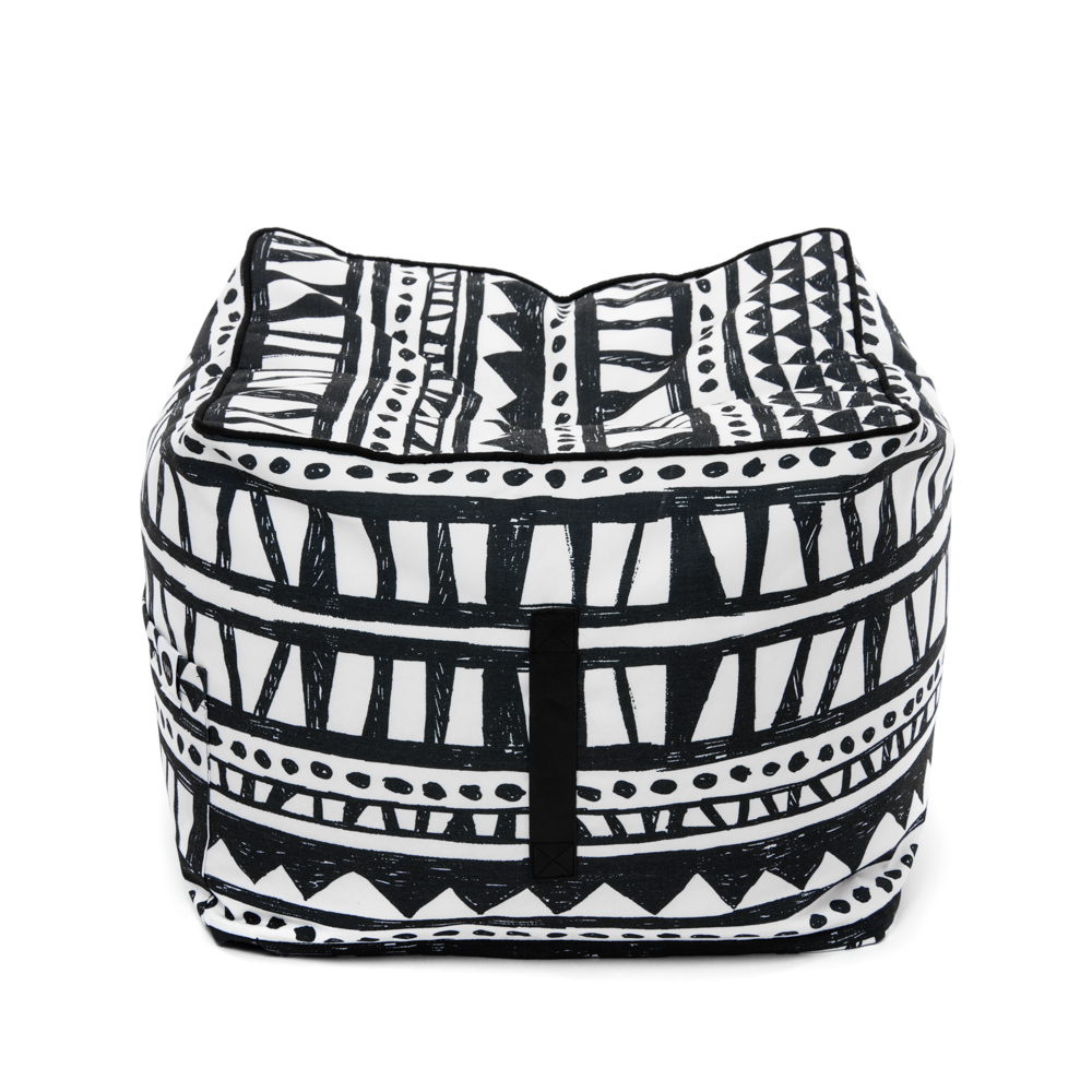 Black and white geometric print Bermuda ottoman showing carry handle.