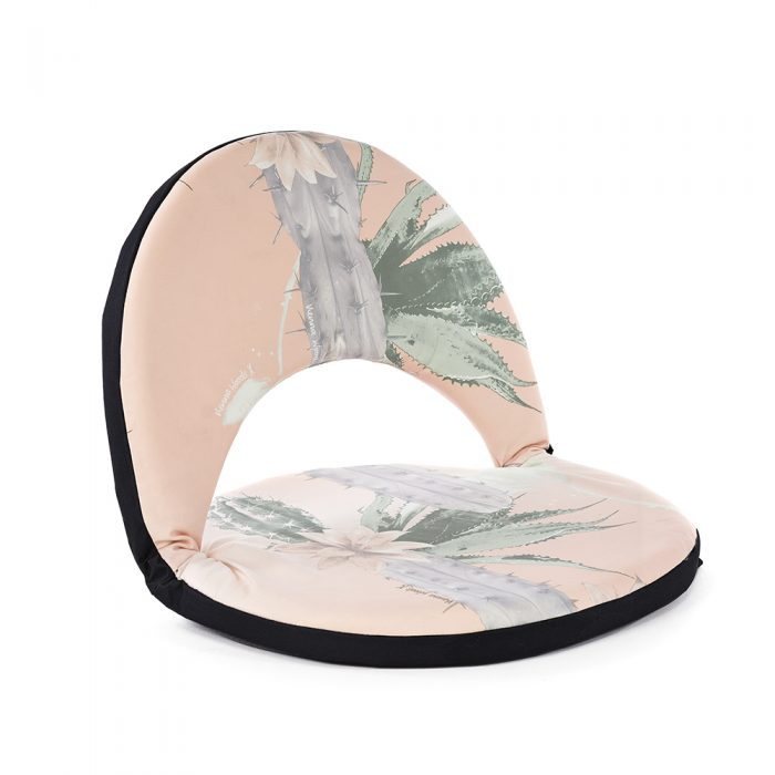 Oblique view of the pink and green kakteen cactus print portable cushion recliner low beach chair seat