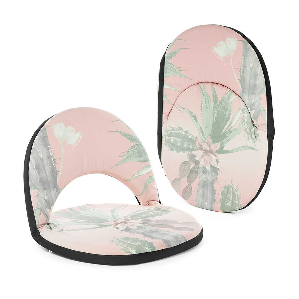 Pink and green kakteen print cushion recliner in seated and transport options