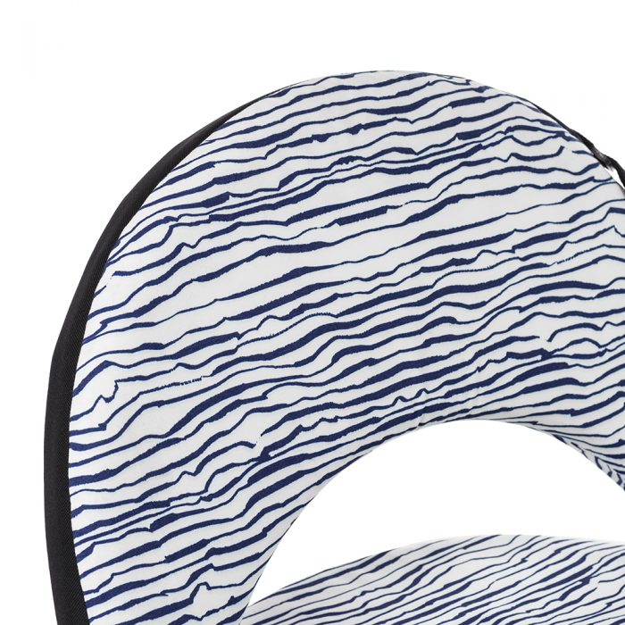 Close up of the marine blue and white hand drawn designer wave print and black trim