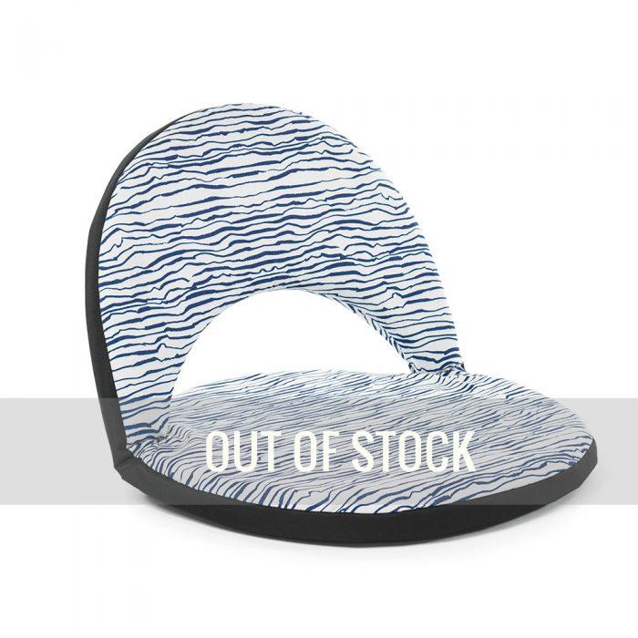 Blue and white wave marine print portable cushion recliner low beach chair seat
