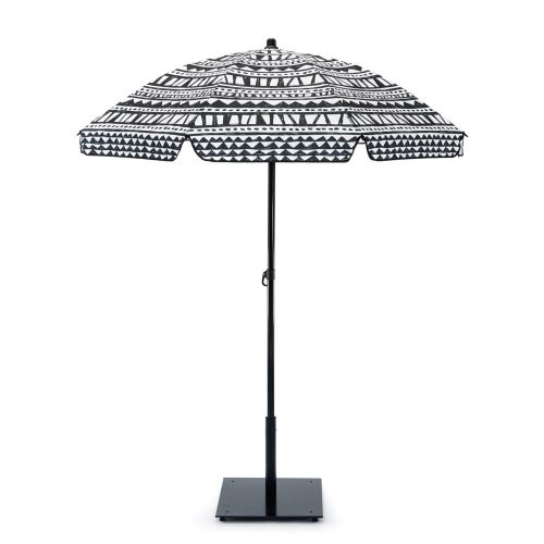 Black and white print bermuda sun beach picnic deck umbrella shown from the side displaying canopy shape detail