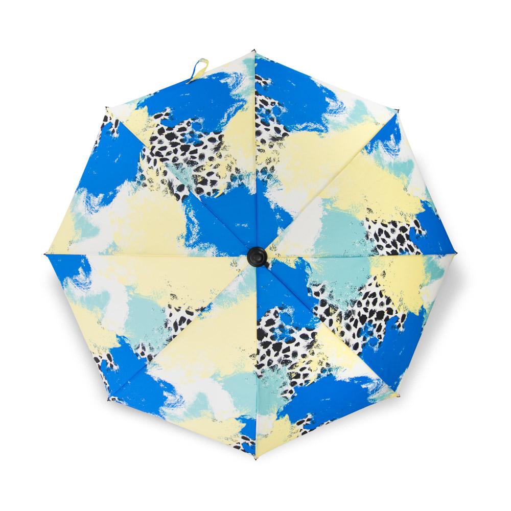 The bright contemporary designer print Tier UPF50+ sun beach umbrella from above