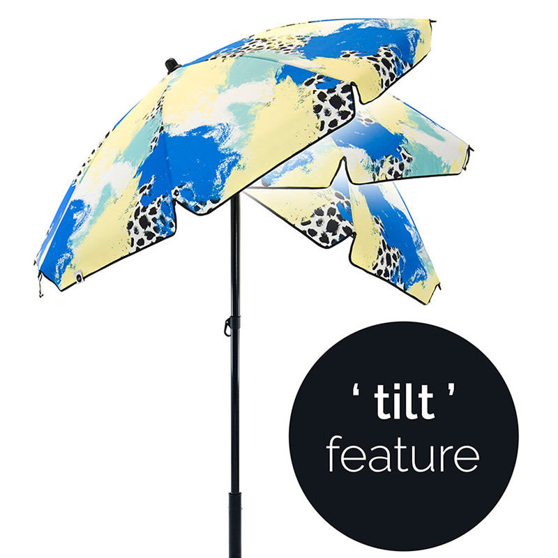 tilt feature on a brightly colored sun umbrella