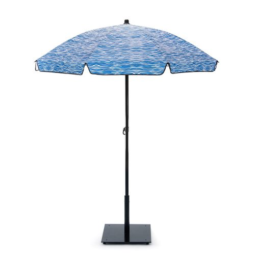 The blue wave print Wellen sun beach picnic deck umbrella open from the side to display the canopy detail