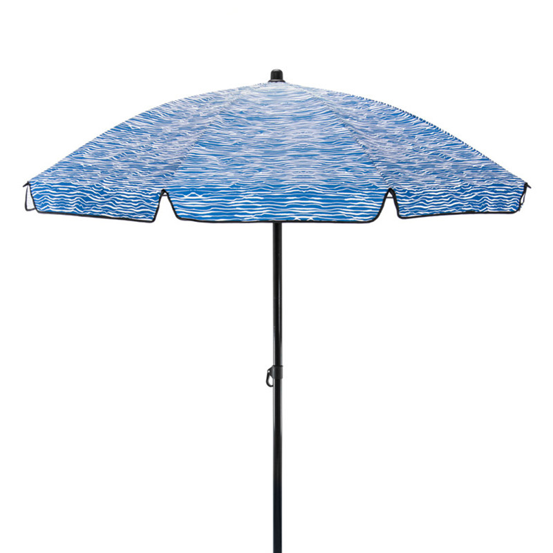 blue and white wavy striped sun umbrella