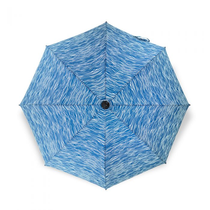The gorgeous blue wellen print sun umbrella from above