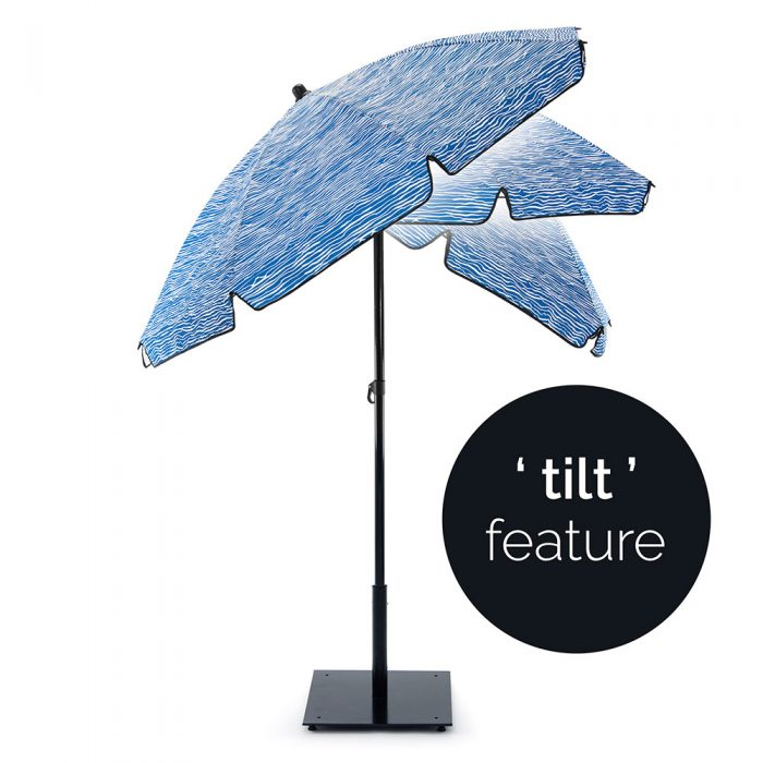 The blue wave designer print Wellen UPF50+ sun beach umbrella tilt function