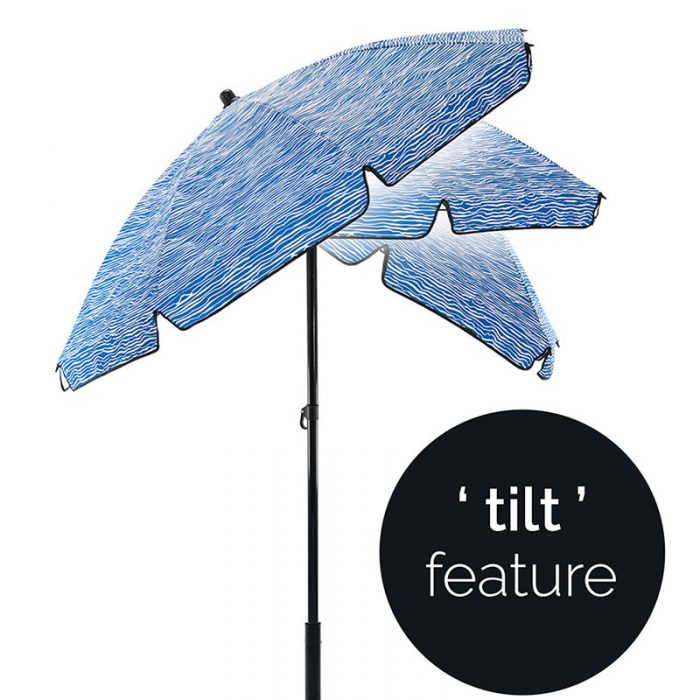 tilt function on a blue and white wavey striped sun umbrella