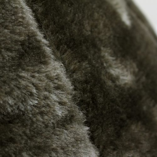 A close up of the donkey brown faux fur fabric used on the iCrib
