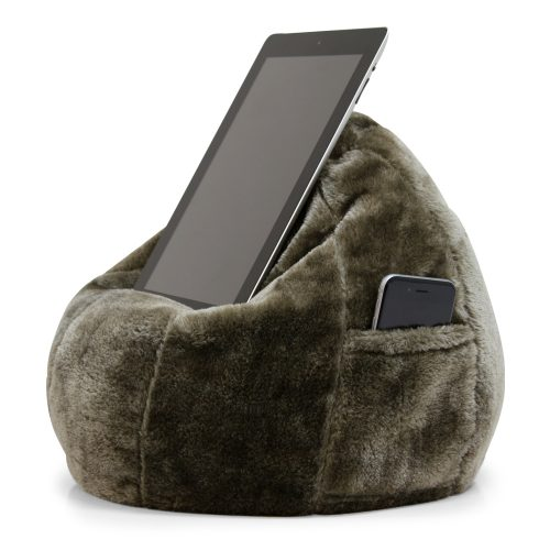 Donkey brown tan faux fur iCrib tablet holder mobile device bean bag stand. A phone sits in the storage pocket.