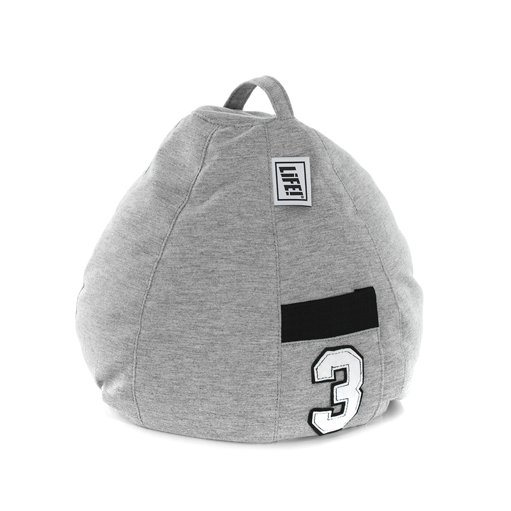 Grey jersey material iCrib tablet holder with handle and storage pocket with the number three appliqued on it