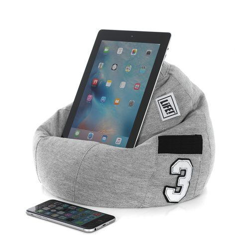 An iPad sits on a grey jersey iCrib with a number 3 applique on the storage pocket.