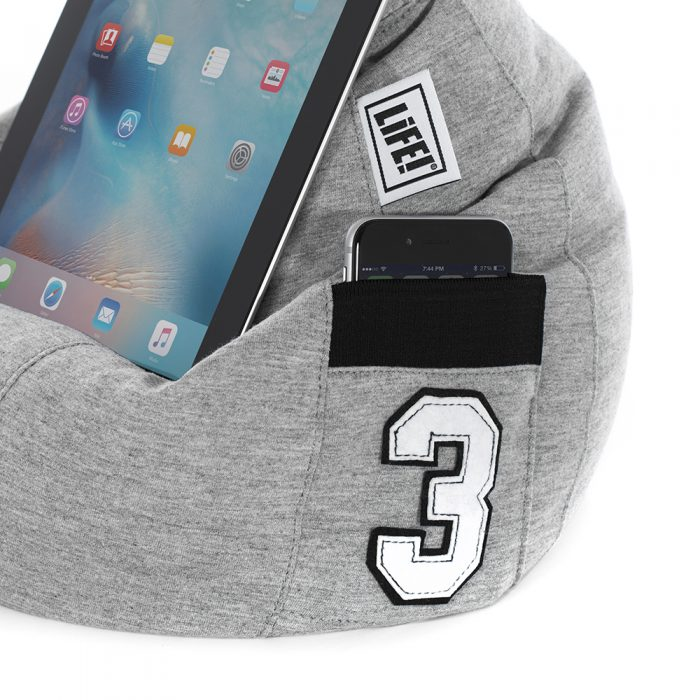 Close up of the pocket detail on the hoodie grey iCrib featuring black contrast trim and number 3 sports motif
