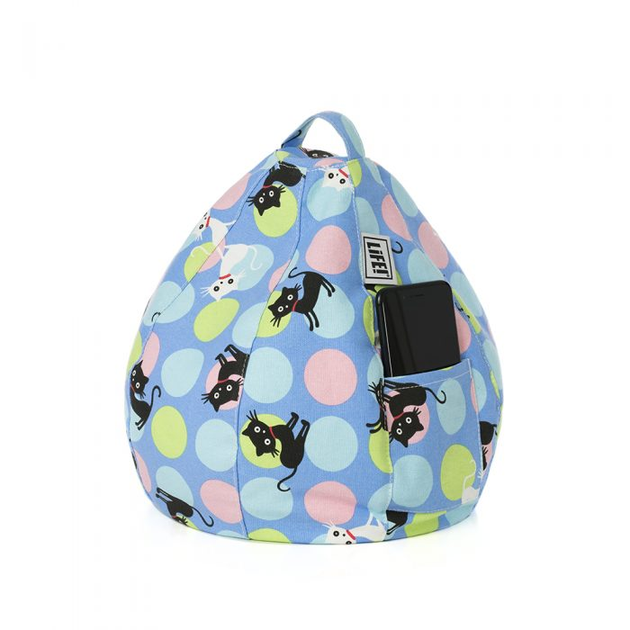 Pastel spots on a light blue background with black and white cat print showing mobile phone or smart phone or iPad in the storage pocket