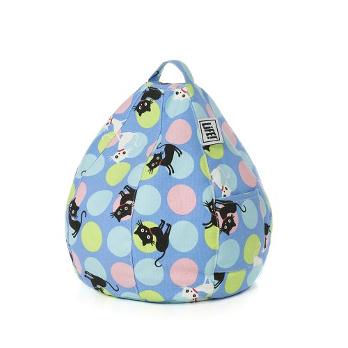Pastel spots on cornflower blue iCrib bean bag with black and white cat print. Handle and storage pocket are visible.