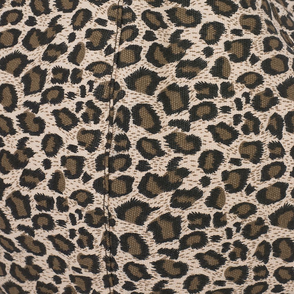 Close up of the tan animal print fabric
