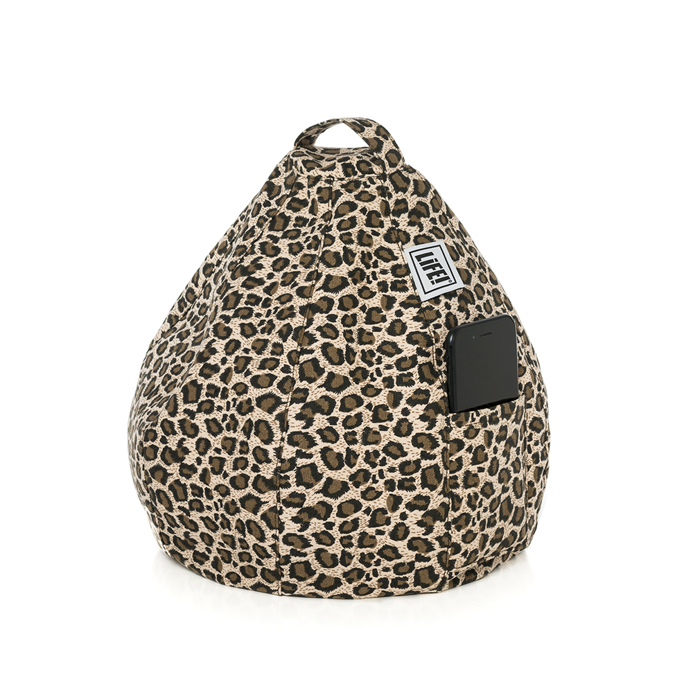 Brown tan leopard animal print iCrib with carry handle and a mobile phone in the storage pocket