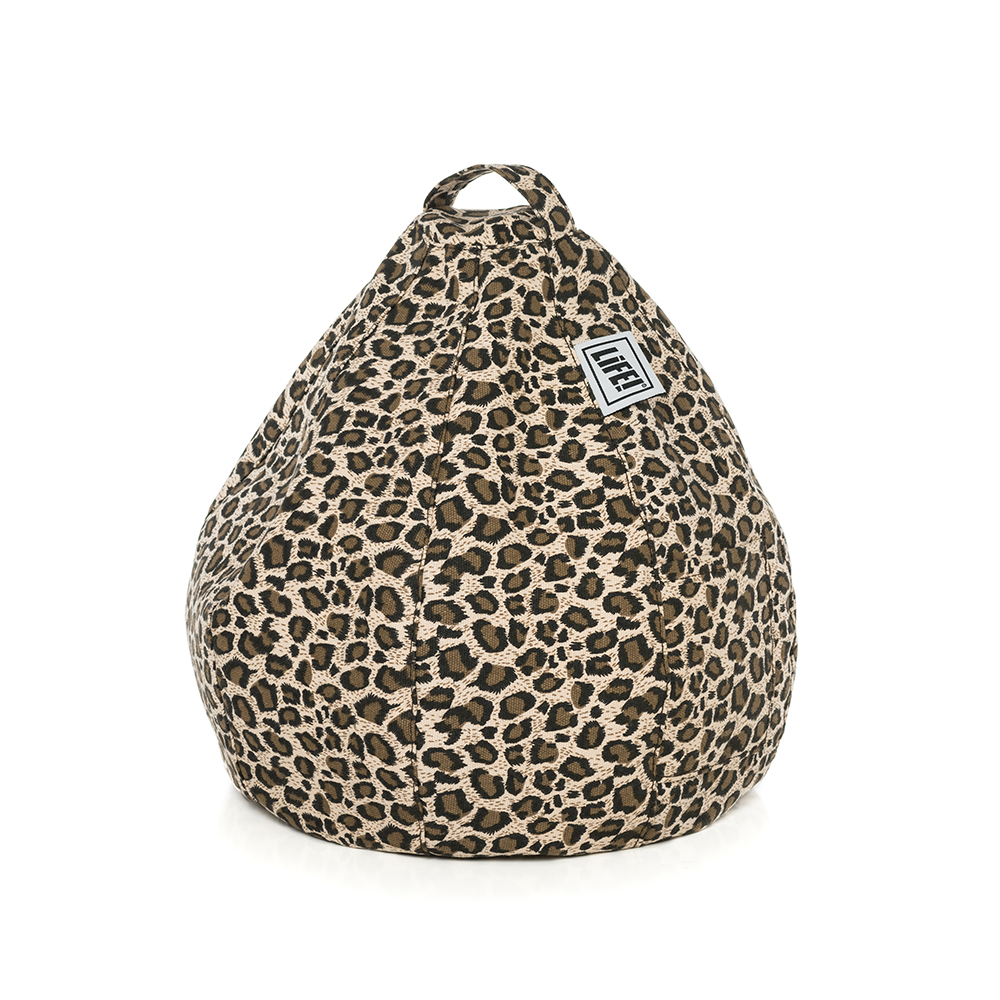 Brown tan leopard animal print iCrib with carry handle and storage pocket