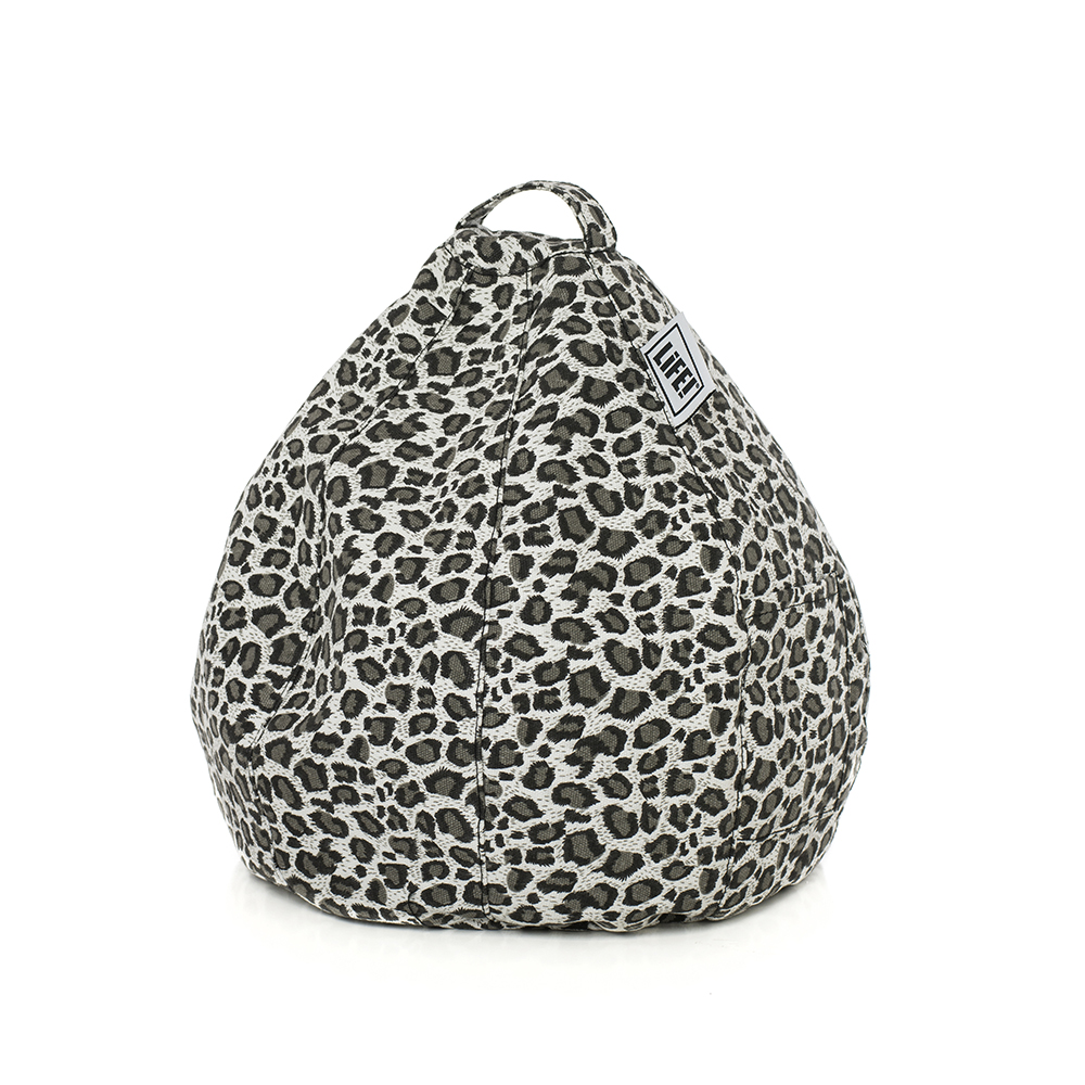 A grey animal print leopard, cheetah iCrib for holding your iPad, tablet or mobile device to use hands free.