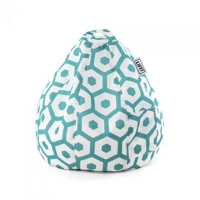 A green geometric print iCrib tablet holder bean bag stand with handle and storage pocket