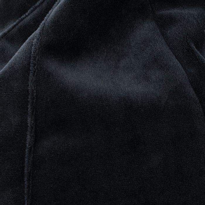 close up of the black velvet material