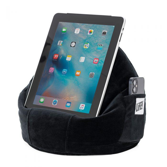 iPad sits in a black velvet iCrib beanbag tablet holder