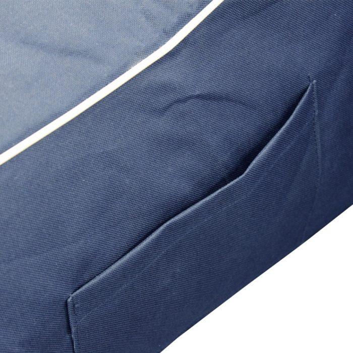 Close up of the handy storage pocket on the navy coastal lounge bean bag