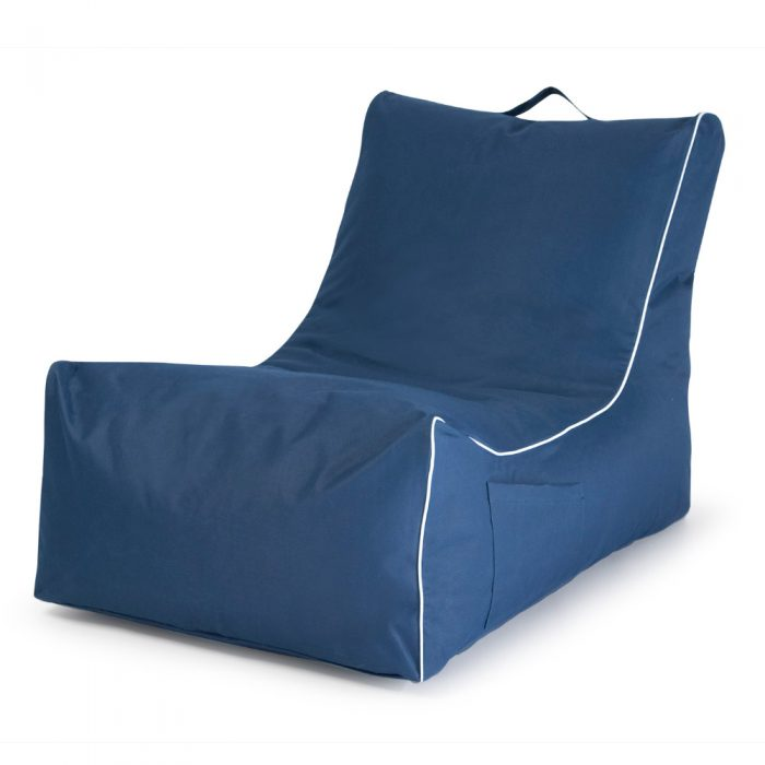 Oblique view of the navy coastal lounge bean bag showing the handle, pocket and contrast white piping