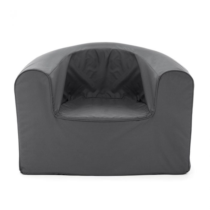Front view of the castle rock grey pop lounge foam armchair