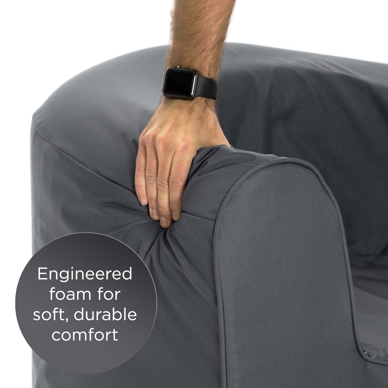 Close up of the soft durable foam pop lounge armchair