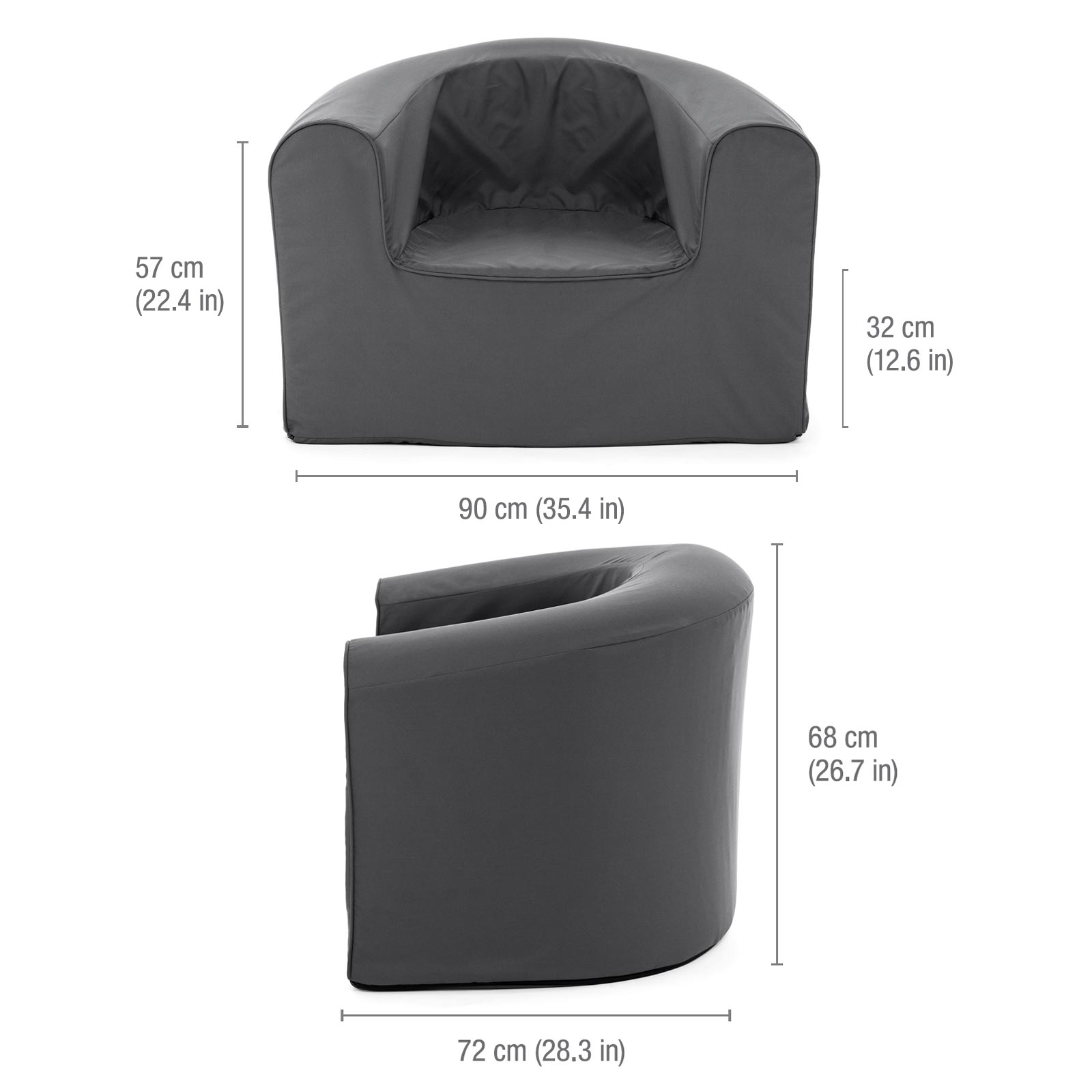 Image shows dimensions of the castle rock grey pop lounge foam armchair