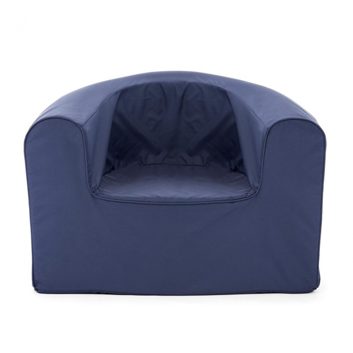 Front view of the crown blue pop lounge adult armchair foam seat