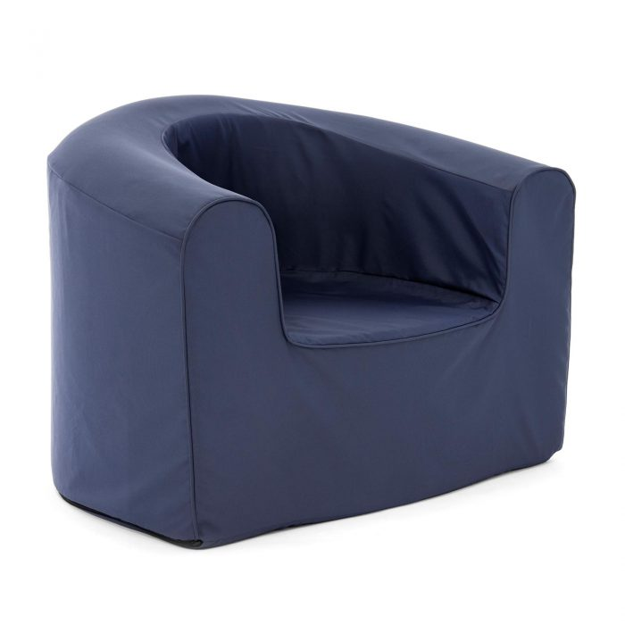 Side view of the crown blue pop lounge adult armchair foam seat
